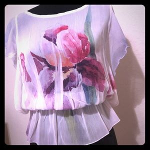 Tops - Sheer Floral Tunic- Small